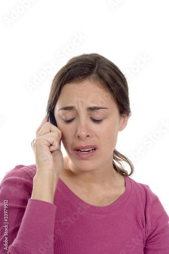 woman upset on phone
