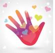 logo main, coeur, fond coloré