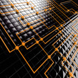 Abstract background from black metal big and orange small cubes