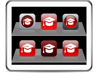Graduation red app icons.