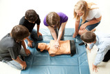 Teenagers Practice CPR poster