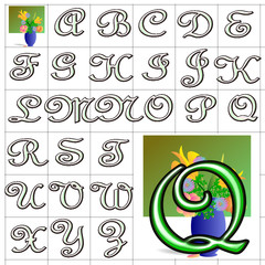 ABC Alphabet background vase french green design