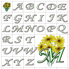 ABC Alphabet background yellow mono green design
