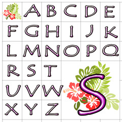 ABC Alphabet background hibiscus tempus pink design