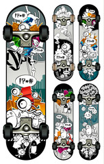 Vector set of graffiti skateboards styles
