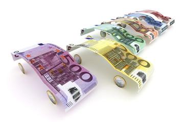 Euro-Geldscheine als Fahrzeugauswahl