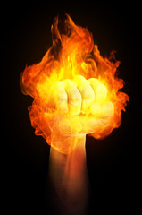 Fist on fire