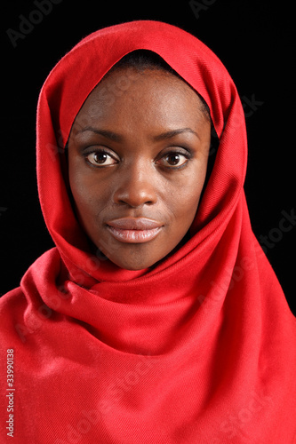 Beautiful young black religious woman in hijab