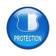 Boton brillante simbolo y texto PROTECTION