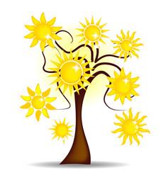 Illustration tree with bright sunshine
