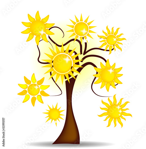 Illustration tree with bright sunshine