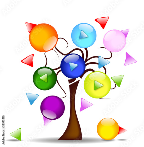 Illustration with tree and multi-directional buttons light