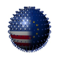 USA EU flag sphere surrounded by people illustration
