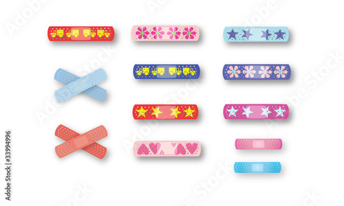 Page of colorful kids bandaids
