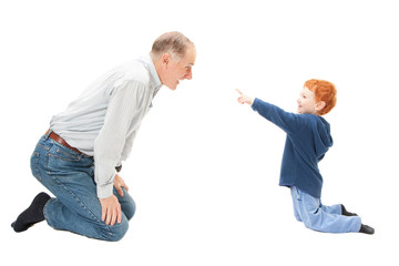 Boy child having fun with grandfather