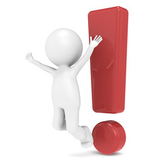 3D Little Human Character jumping infront of an Exclamation Mark
