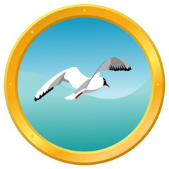 Sea gull on a blue wavy background, surrounded by a porthole
