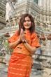 asian thai woman greetings in temple