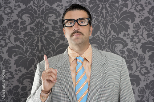 nerd retro businessman raising finger up hand gesture