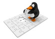 Pinguin mit Puzzle - das letzte Teil