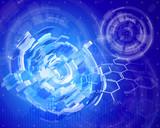 Blue radial technology background & chemical formulas