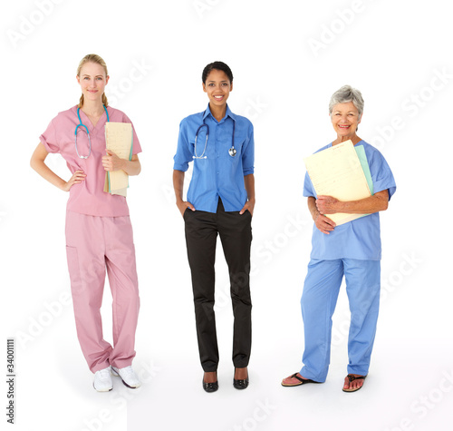 Mixed group of female medical professionals