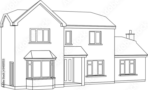 High Quality A 3d Perspective Line Drawing Of A Two Storey House: 3d House Drawing