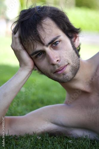Homme, jeune, beau, mâle, garçon, viril, nu, torse nu, look