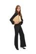 Geschäftsfrau im Anzug trägt Aktenstapel