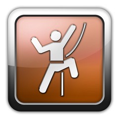 "Bronze Glossy Square Icon ""Rock Climbing"""