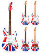 set of uk electric guitars isolated on white background