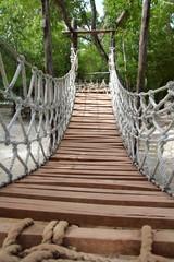 Adventure wooden rope jungle suspension bridge