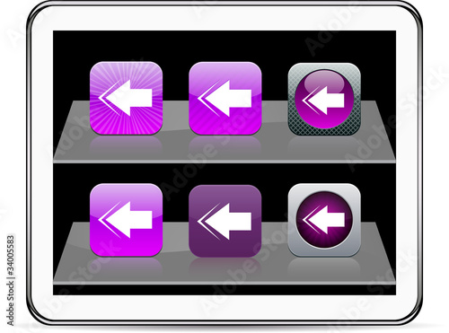 Back arrow purple app icons.