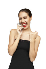 Happy woman talking by mobile