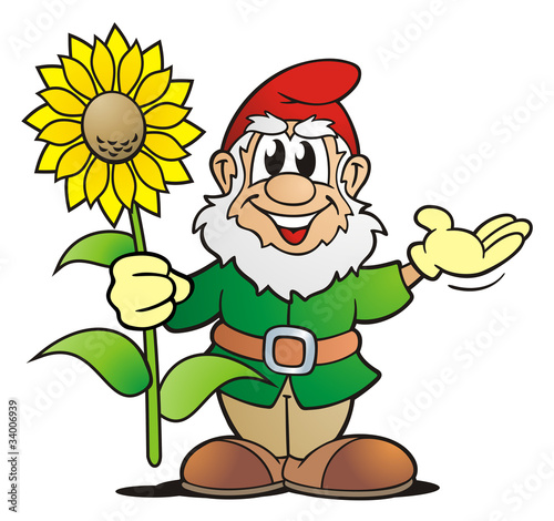 Garden Gnome with Sunflower