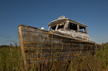 Shipwrecked boat on Tangier Island.