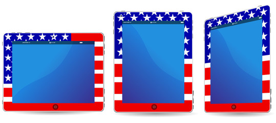 america touchpad or tablet pc isolated on white