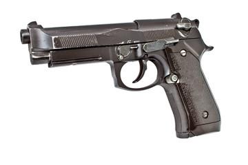 Isolated ol semi automatic handgun, studio shot