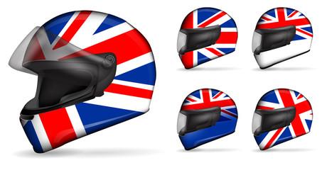 set of uk motorcycle helmet isolated on white background