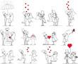 набор свадебных фотографий, жених и невеста в любви, вектор