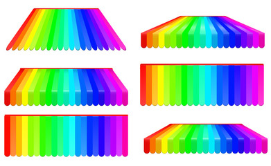 rainbow awnings set isolated on white background