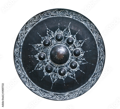 Thai traditional oriental gong on white background