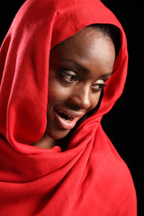 Beautiful happy African American muslim girl hijab