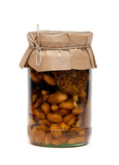 Nuts, honey and fig in the jar
