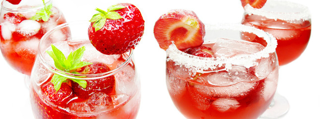 alcoholic liqueur cocktail punch with strawberry