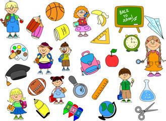 милые школьники и школьницы, школа элементы