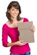 junge Frau mit Bewerbungsmappe in der Hand
