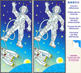 Find the differences visual puzzle - astronaut in space poster