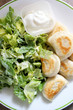 Perogies, Casesar salad and sour cream