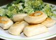 Perogies with salad
